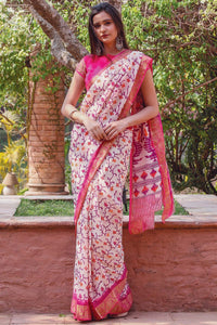 Fancy Pink Cream Flower Printed Design Heavy Linen Cotton Saree.. - Bollywood Replica Saree