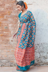 Teal N Red Cream Flower Printed Designe Heavy Linen Cotton Saree.. - Bollywood Replica Saree