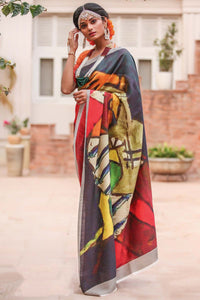 Partywear Multi Printed Design Heavy Linen Cotton Saree.. - Bollywood Replica Saree