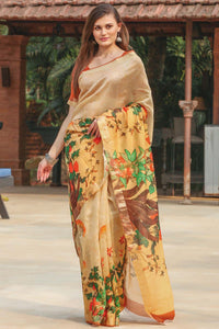 Stylish Multi Printed Design Heavy Linen Cotton Saree.. - Bollywood Replica Saree