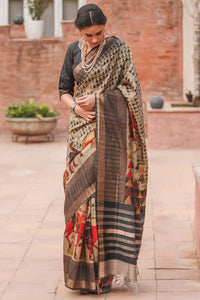 Designer Brown Flower Printed Design Heavy Linen Cotton Saree..ms1141 - Bollywood Replica Saree