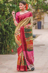 Stylish Pink Flower Printed Designe Heavy Linen Cotton Saree.. - Bollywood Replica Saree