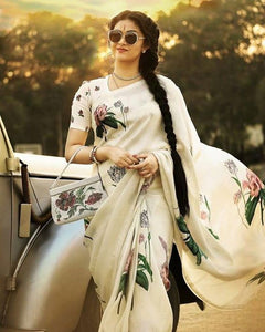 Fancy White Color Flower Printed Design Heavy Linen Cotton Saree... - Bollywood Replica Saree