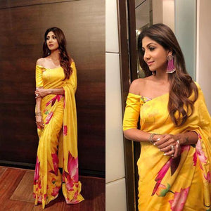 Attractive Yellow Color Flower Printed Design Heavy Linen Cotton Saree...ms1156 - Bollywood Replica Saree