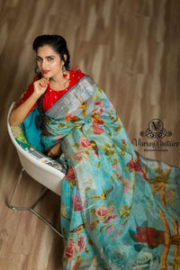Attractive Teal Color Flower Printed Design Heavy Linen Cotton Saree...1160 - Bollywood Replica Saree