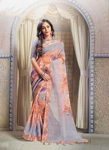 Wonderfull Orange N Gray Color Flower Printed Design Heavy Linen Cotton Saree... - Bollywood Replica Saree