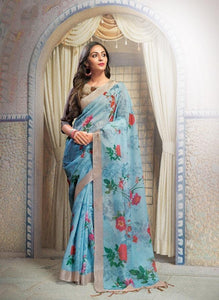 Attractive Teal Color Flower Printed Design Heavy Linen Cotton Saree...1167 - Bollywood Replica Saree