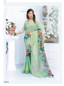 Exclusive Perrot Color Flower Printed Design Heavy Linen Cotton Saree... - Bollywood Replica Saree