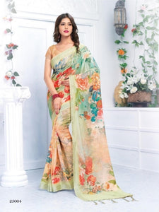 Stylish Orange Color Flower Printed Design Heavy Linen Cotton Saree... - Bollywood Replica Saree