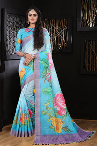 Wonderfull Sky Blue Color Flower Printed Designe Heavy Linen Cotton Saree... - Bollywood Replica Saree