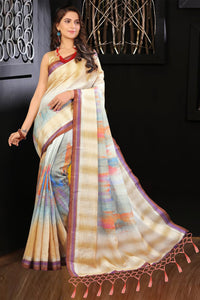 Stylish Sky Blue Color Flower Printed Designe Heavy Linen Cotton Saree... - Bollywood Replica Saree