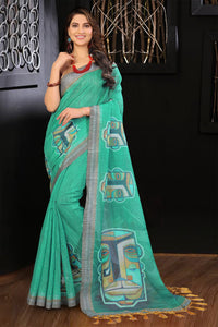 Designer Teal Color Flower Printed Design Heavy Linen Cotton Saree... - Bollywood Replica Saree