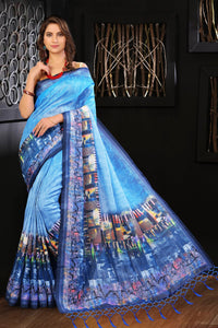 Stylish Blue Color Flower Printed Design Heavy Linen Cotton Saree... - Bollywood Replica Saree