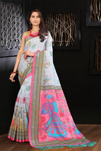 Brown With Pink Pallu Color Flower Printed Design Heavy Linen Cotton Saree...ms1186 - Bollywood Replica Saree