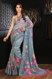 Attractive Gray Color Flower Printed Design Heavy Linen Cotton Saree... (ms1188) - Bollywood Replica Saree