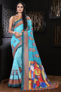 Exclusive Teal Color Flower Printed Designe Heavy Linen Cotton Saree... - Bollywood Replica Saree