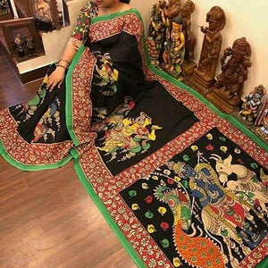 Designer Black Linen Digital Printed Saree.ms1195 - Bollywood Replica Saree
