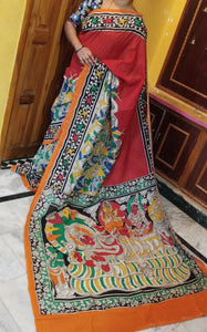Designer Red Color Linen Digital Printed Saree - Bollywood Replica Saree