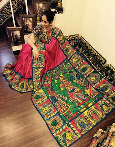 Designer Red With Multi Color Linen Digital Printed Saree - Bollywood Replica Saree