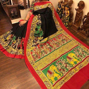 Designer Black With Multi Color Linen Digital Printed Saree ms1220 - Bollywood Replica Saree