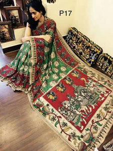 Designer Green With Multi Color Linen Digital Printed Saree - Bollywood Replica Saree