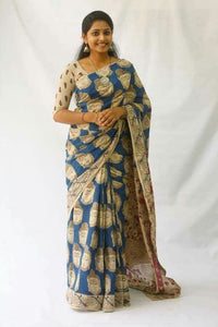 Designer Teal Color Flower Printed Design Heavy Linen Cotton Saree - Bollywood Replica Saree