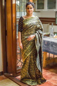 Stylish Yellow Color With Black Printed Design Heavy Linen Cotton Saree - Bollywood Replica Saree
