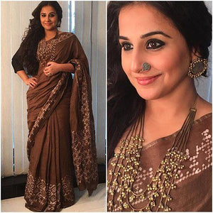 Brown Color Printed Design Heavy Linen Cotton Saree  ms1260 - Bollywood Replica Saree