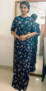Partywear Navy Color Flower Printed Design Heavy Linen Cotton Saree - Bollywood Replica Saree
