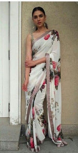 Designer White Color Flower Printed Design Heavy Linen Cotton Saree - Bollywood Replica Saree
