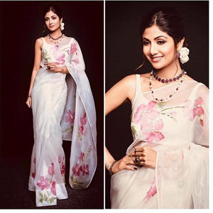 Stylish White Color Flower Printed Design Heavy Linen Cotton Saree - Bollywood Replica Saree