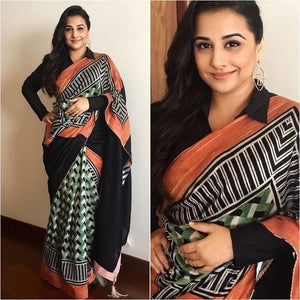 Partywear Multi Color Printed Design Heavy Linen Cotton Saree - Bollywood Replica Saree