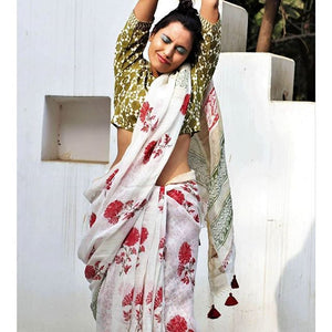 Attractive White Color Flower Printed Design Heavy Linen Cotton Saree - Bollywood Replica Saree