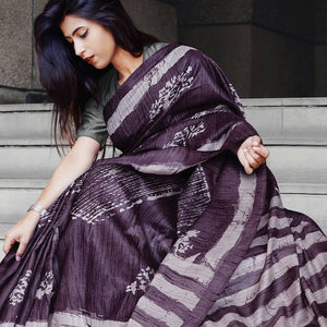 Designer Purple Color Flower Printed Design Heavy Linen Cotton Saree - Bollywood Replica Saree