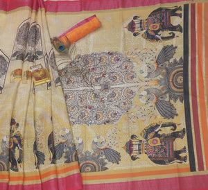 Designer Beige Color Flower Printed Design Heavy Linen Cotton Saree - Bollywood Replica Saree