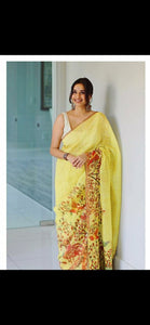 Stylish Yellow Printed Design Heavy Linen Cotton Saree - Bollywood Replica Saree