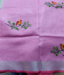 Partywear Baby Pink Color Flower Printed Design Heavy Linen Cotton Saree - Bollywood Replica Saree