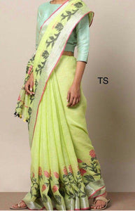 Stylish Perrot Color Flower Printed Design Heavy Linen Cotton Saree - Bollywood Replica Saree