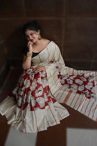 Wonderfull Red Color Flower Printed Designe Heavy Linen Cotton Saree - Bollywood Replica Saree