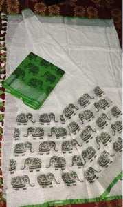 Green Elephant Design Printed Heavy Linen Cotton Saree - Bollywood Replica Saree