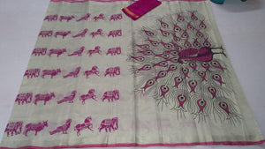 Pink Printed Design Heavy Linen Cotton Saree - Bollywood Replica Saree