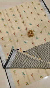 Stylish Cream Color Printed Design Heavy Linen Cotton Saree - Bollywood Replica Saree