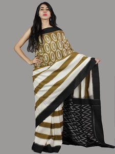 Stylish Brown Printed Design Heavy Linen Cotton Saree - Bollywood Replica Saree