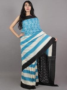 Partywear Blue Printed Design Heavy Linen Cotton Saree - Bollywood Replica Saree