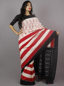 Beautifull Red Printed Design Heavy Linen Cotton Saree - Bollywood Replica Saree