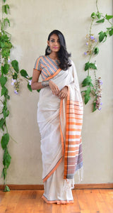 Plain Printed Design Heavy Linen Cotton Saree (1473) - Bollywood Replica Saree