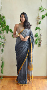 Stylish Gray Printed Design Heavy Linen Cotton Saree - Bollywood Replica Saree