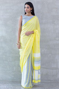 Yellow Printed Designe Heavy Linen Cotton Saree - Bollywood Replica Saree