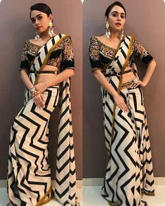White N Black Linening Printed Design Heavy Linen Cotton Saree - Bollywood Replica Saree