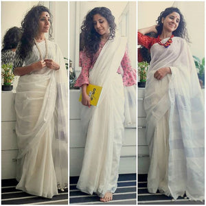 Soft Plain White Design Heavy Linen Cotton Saree - Bollywood Replica Saree